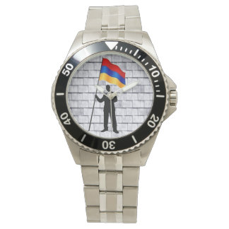 Armenisk flaggaklocka armbandsur