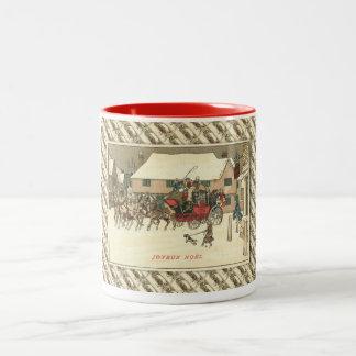 Arrangerar den franska julen för vintage, Två-Tonad mugg