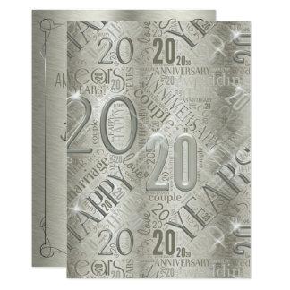 Årsdag 20 år ordmoln ID267 12,7 X 17,8 Cm Inbjudningskort
