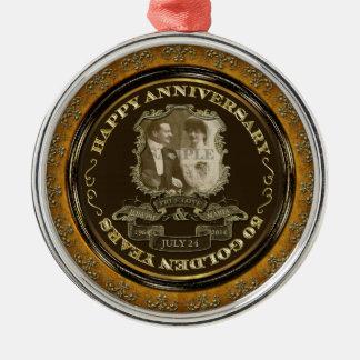 Årsdag ID195 för vintage 50th Julgransprydnad Metall