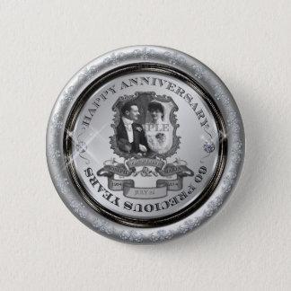Årsdag ID195 för vintage 60th Standard Knapp Rund 5.7 Cm