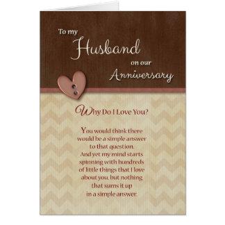 Årsdag till maken - varför älskar jag dig? hälsningskort