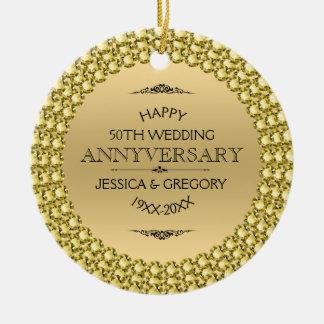 Årsdagdiamanter & guld för lycklig 50th rund julgransprydnad i keramik