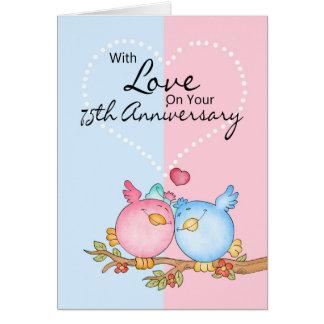 årsdagkort - 75:eårsdaglove birds hälsningskort