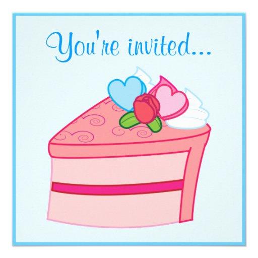 Årsdagöverrrakningparty: Tårta med hjärtor Inbjudan