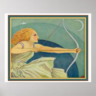 "Art déco ""amasonbågskytt"" ca 1928 16x20 poster"