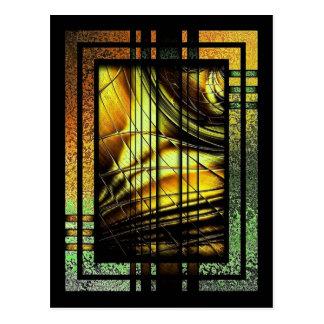 Art déco i grönt och guld vykort