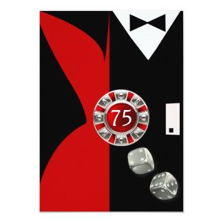 Art déco kopplar ihop röd svart för 12,7 x 17,8 cm inbjudningskort