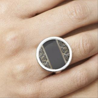 Art déco svart, guld, elegant, chic, monogramredo, ring