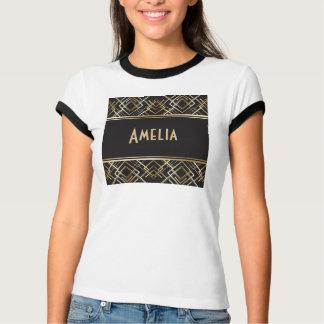 Art déco svart, guld, elegant, chic, monogramredo, t-shirt