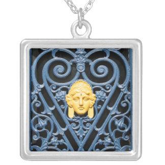 Art déco - Wrought järnhalsband 3 för blommönster Silverpläterat Halsband