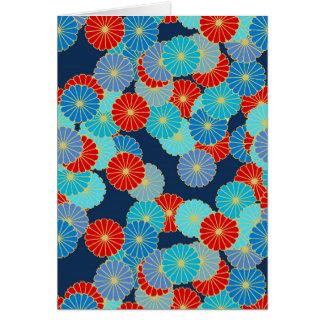 Art décoblommamönster - blått, turkos och rött OBS kort