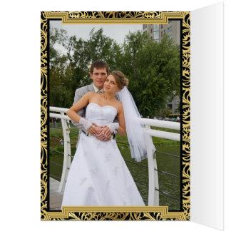 Art décobyggnadsvart, guld- brölloptack OBS kort