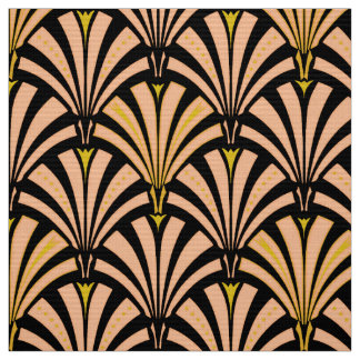 Art décofläktmönster - persika på svart tyg