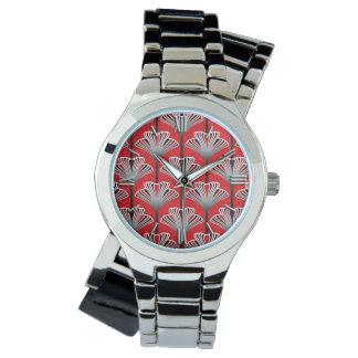 Art décolilja, djupt - rött och grått/grå färg armbandsur