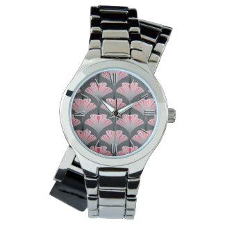 Art décolilja, grått/grå färg och korallrosor armbandsur