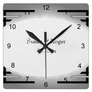 Art décosvart & silver fyrkantig klocka