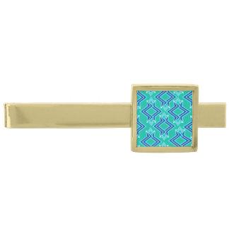 Art décotapetmönster, turkos och kobolt guldpläterad slipsnål