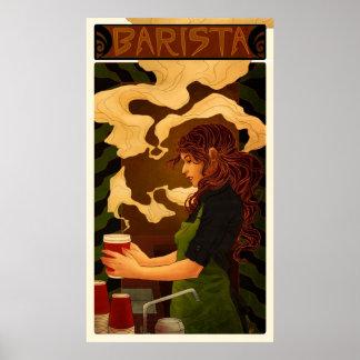 Art nouveau Barista (affisch/trycket) Poster