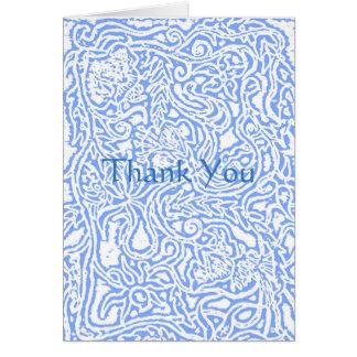 Art nouveau blommar i blått hälsningskort