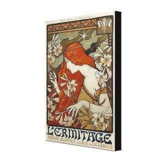 Art nouveau blommar nostalgi för damkvinnablommigt canvastryck