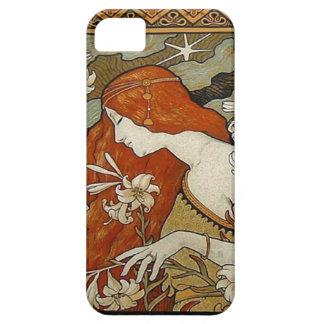 Art nouveau blommar nostalgi för damkvinnablommigt iPhone 5 Case-Mate skydd