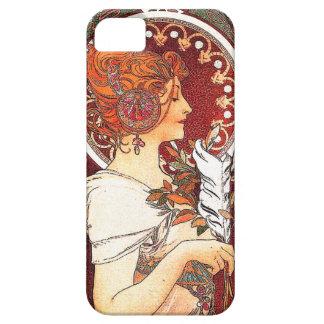 Art nouveau blommar nostalgi för damkvinnablommigt iPhone 5 fodral