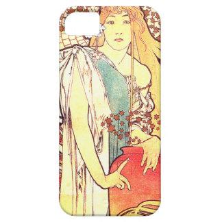Art nouveau blommar nostalgi för damkvinnablommigt iPhone 5 hud