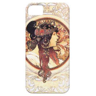 Art nouveau blommar nostalgi för damkvinnablommigt iPhone 5 skydd