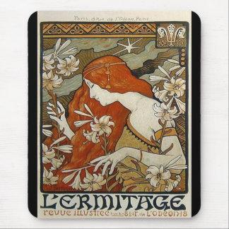 Art nouveau blommar nostalgi för damkvinnablommigt musmattor