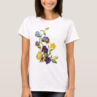 Art nouveau broderade Pansies T Shirt