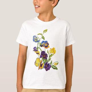 Art nouveau broderade Pansies Tee Shirt