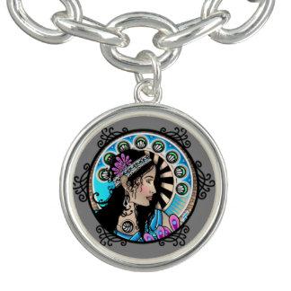 Art nouveau cirklar målningbarnsamaritkvinnan armband