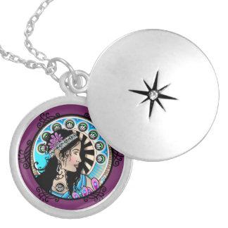 Art nouveau cirklar målningbarnsamaritkvinnan silverpläterat halsband