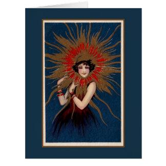 Art nouveau damen i solen jumbo kort