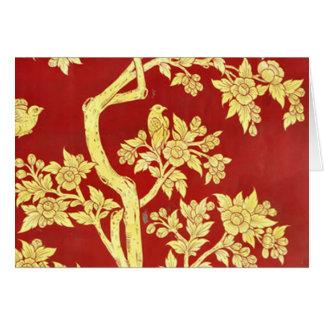 art nouveau deco, asiat, guld som är rött, vintage hälsningskort