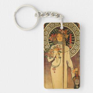 Art nouveau den Trappistine nyckelringen Rektangulärt Enkelsidig Nyckelring I Akryl
