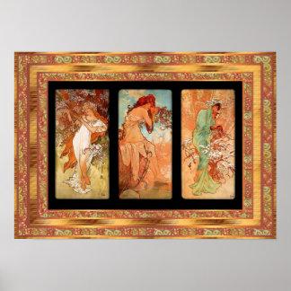 Art nouveau för affischvintageAlphonse Mucha panel Poster