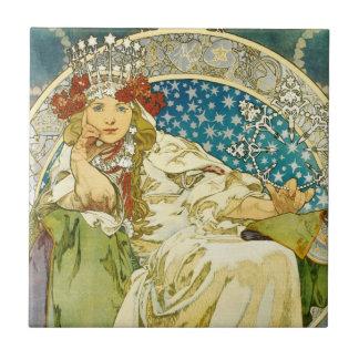 Art nouveau för Alphonse Mucha Princess Hyacint Kakelplatta