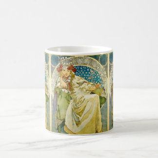 Art nouveau för Alphonse Mucha Princess Hyacint Vit Mugg