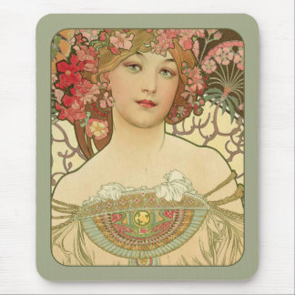 Art nouveau för Alphonse Mucha Rêverie dagdröm Mus Matta