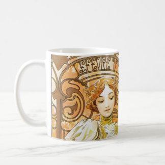 Art nouveau för romantiker för Alphonse Mucha Vit Mugg