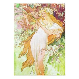 Art nouveau för vintage för Alphonse Mucha vår Set Av Breda Visitkort