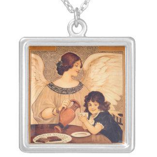 Art nouveau för vintagechokladängel silverpläterat halsband