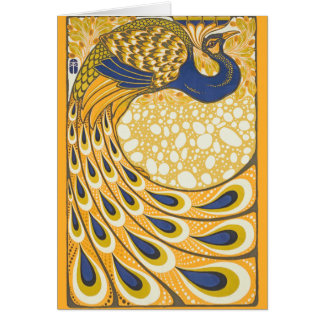 Art nouveau för vintagepåfågelaffisch hälsningskort
