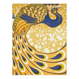 Art nouveau för vintagepåfågelaffisch vykort