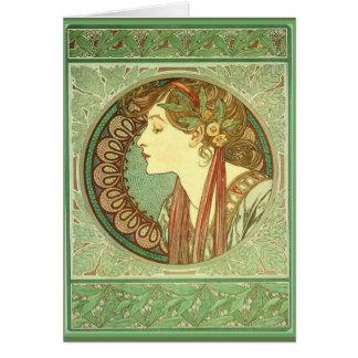 "Art nouveau~ ""lagrar"" Alphonse Mucha kort 1901"