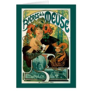 Art nouveau: Mucha affischkonst - Bieres de la Hälsningskort