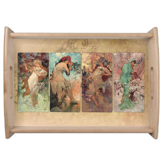 Art nouveau~ Mucha de fyra säsongerna Serveringsbricka