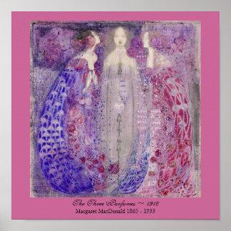 Art nouveau tre parfymer Margaret MacDonald 1912 Poster
